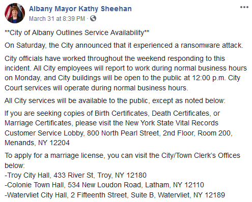 city of albany cyber attack