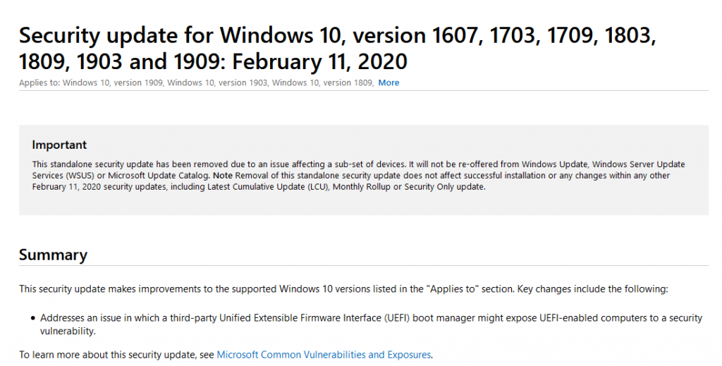 Microsoft KB4524244 Update Pulled