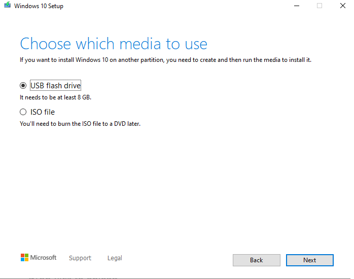 Choose which media to use screen