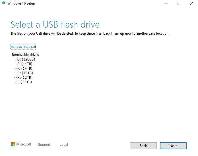 Select a USB flash drive screen