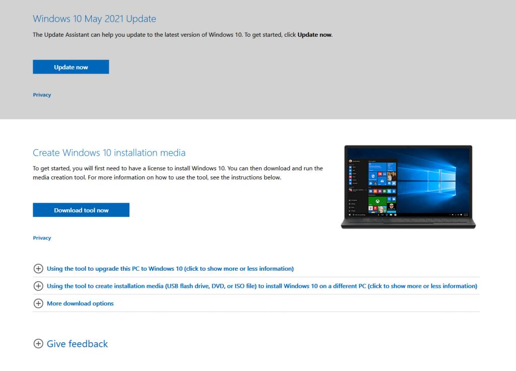 Windows 10 Media Creation Tool May 2021 Update