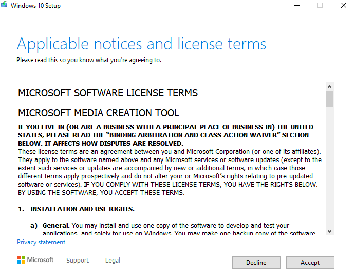 Microsoft Terms and License Agreement